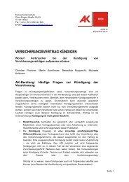 VERSICHERUNGSVERTRAG KÃœNDIGEN - Arbeiterkammer