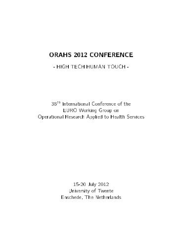 ORAHS 2012 CONFERENCE - Universiteit Twente