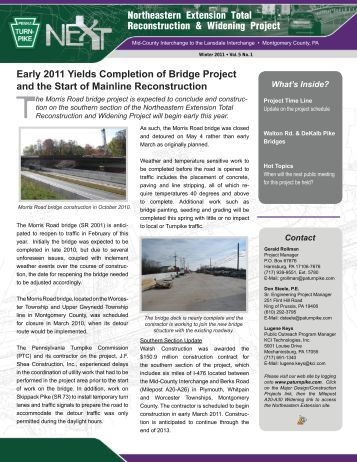 NEXT Project Newsletter - Winter 2011 - The Pennsylvania Turnpike
