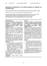 Bedeutung des Studienfachs für die arterielle Hypertonie - Klinische ...