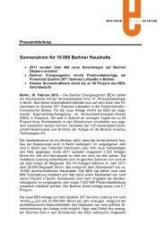 Sonnenstrom für 10.000 Berliner Haushalte - Berliner Energieagentur