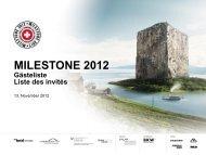 MILESTONE 2012 - MILESTONE. Tourismuspreis Schweiz.