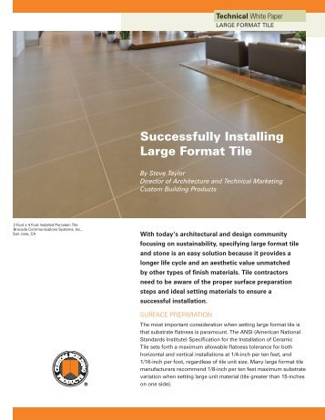 Large Format Tile WP103.indd - Custom Building Products