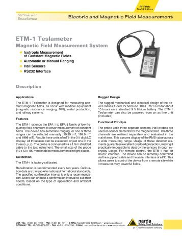 ETM-1 Teslameter - Narda Safety Test Solutions