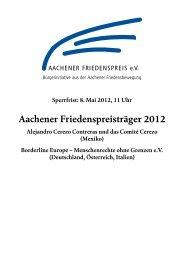 Aachener Friedenspreisträger 2012 - Borderline Europe