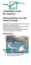 """""""Schwimmen lernen für Senioren"""" - - HOY-REHA GmbH"""