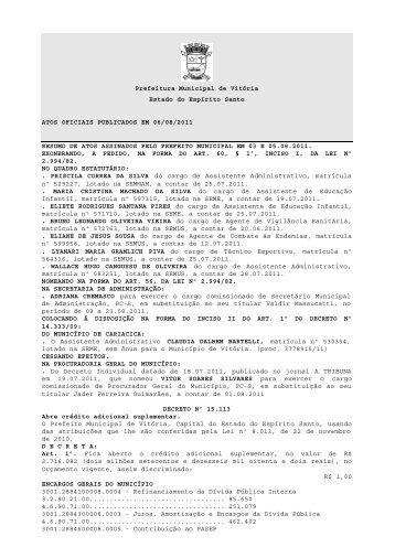 Prefeitura Municipal de Vitória Estado do Espírito Santo ATOS ...