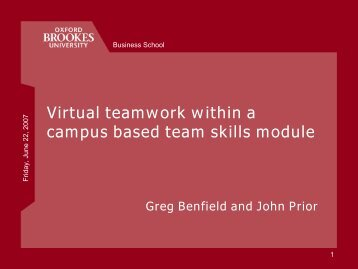 Virtual teamwork within a campus based team skills module - StudyNet