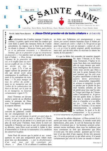 Le Sainte-Anne n° 217 de mars 2010 - « Jésus ... - La Porte Latine