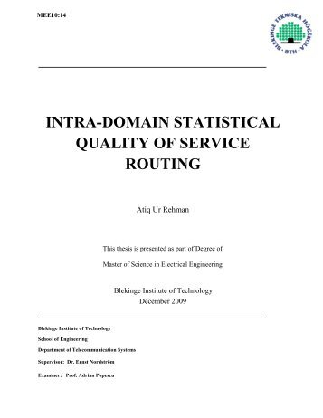 INTRA-DOMAIN STATISTICAL QUALITY OF SERVICE ROUTING