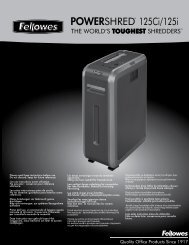 ADvANCED PRODUCT FEATURES - Fellowes