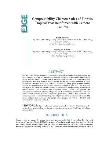 Compressibility Characteristics of Fibrous Tropical Peat ... - Ejge.com