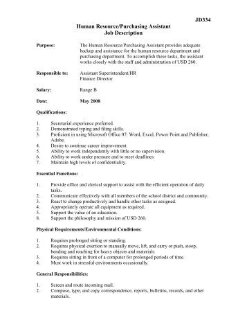 human resource assistant job description
