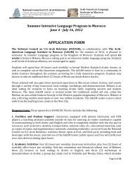 Summer Intensive Language Program in Morocco - National Council ...