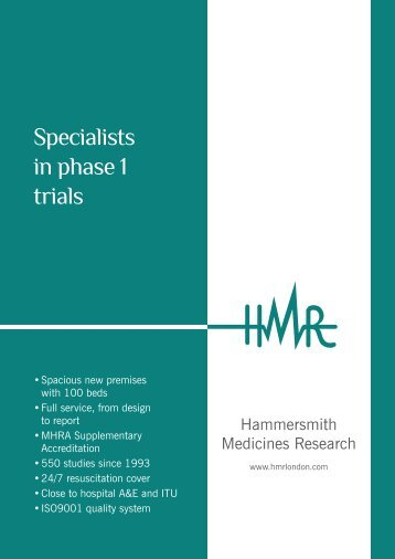 Specialists in phase 1 trials - Hammersmith Medicines Research