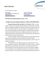 Aeroflex Announces Signal Analysis to 13 GHz in PXI 3000 Platform