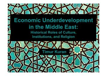 Economic Underdevelopment in the Middle East: