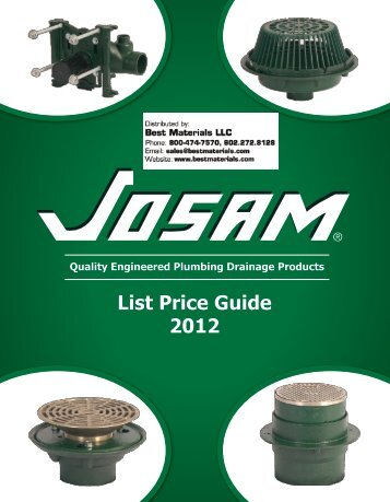 Josam Drain Catalog & List Pricing - Best Materials