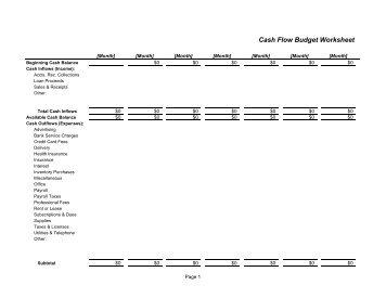 cash flow worksheet