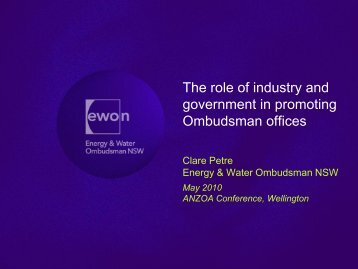 Clare Petre - Australian and New Zealand Ombudsman Association ...