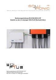 Bedienungsanleitung DE-ICING BOX 2/3P Zubehör zu den 2-3 ...