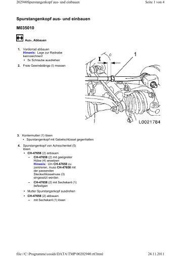 Spurstangenkopf aus- und einbauen M035010