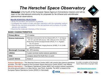 Herschel is the fourth of the European Space Agency's ... - Caltech