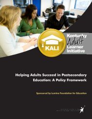 Helping Adults Succeed in Postsecondary Education: A Policy ...