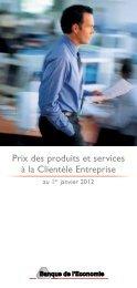 Convention de tarification des services aux Entreprises - Crédit Mutuel