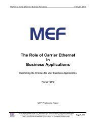 The Role of Carrier Ethernet in Business Applications - MEF