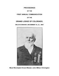 First Annual Communication - Grand Lodge of Colorado