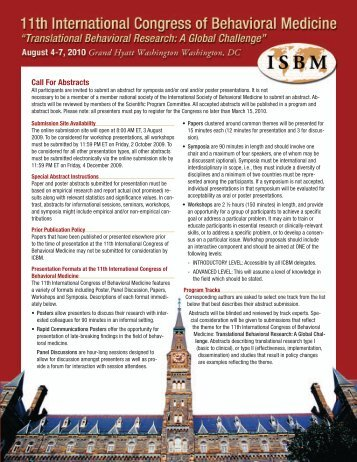 Call For Abstracts - ISBM