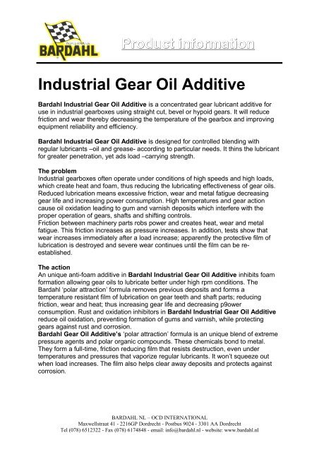 Product information Industrial Gear Oil Additive - Bardahl