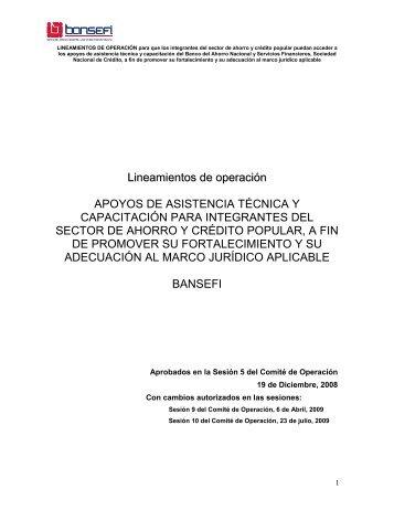 Lineamientos de Operación del Programa - Bansefi