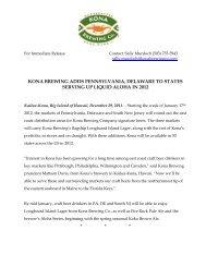 kona brewing will distribute to pa, de & southern nj in 2012