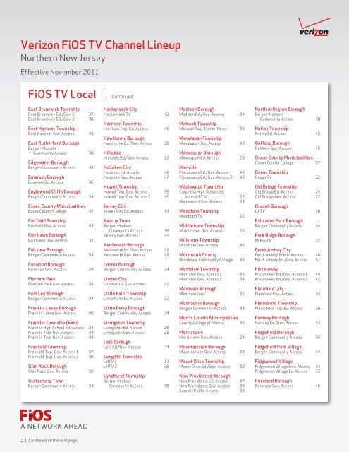 Verizon FiOS TV Channel Lineup