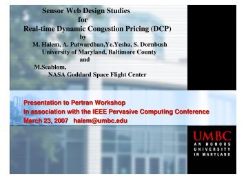 Sensor Web Design Studies for Real-time Dynamic Congestion ...