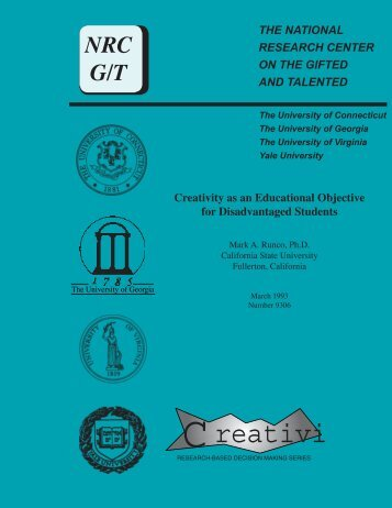 Creativity - Neag Center for Gifted Education and Talent ...
