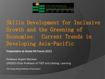 Skills Development for Inclusive Growth and the Greening of ...