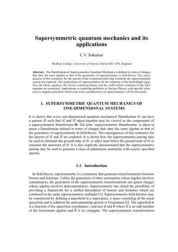 Supersymmetric quantum mechanics and its applications