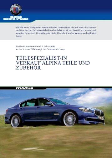 TEILESPEZIALIST/In VErkAuf ALPInA TEILE und ZubEhör