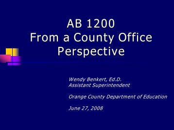 AB 1200/AB 2756 Overview - Kern County Superintendent of Schools
