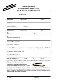 Verwendungsnachweis für Förderung von Jugendtreffen aus Mitteln ...