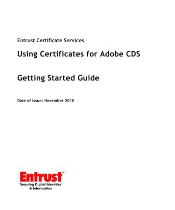 Using Entrust certificates with Adobe CDS