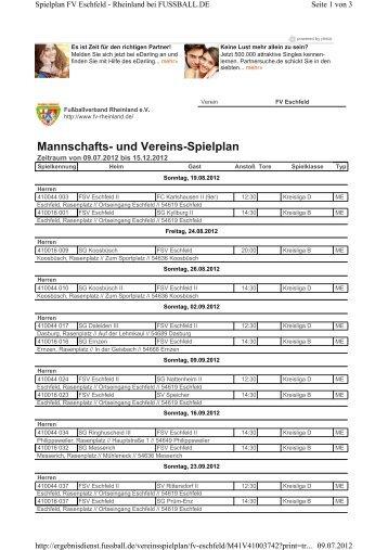 Mannschafts- und Vereins-Spielplan - FSV Eschfeld 1980 eV