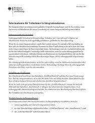 Informationen für Teilnehmer in Integrationskursen