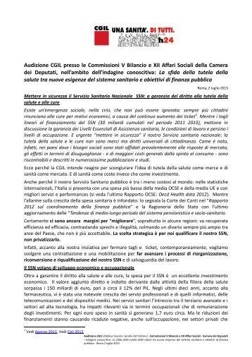 Audizione CGIL presso le Commissioni V Bilancio e XII ... - SOS Sanità