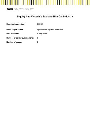 Submission - Taxi Industry Inquiry