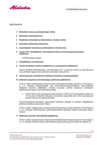 Esityslista - Aldata