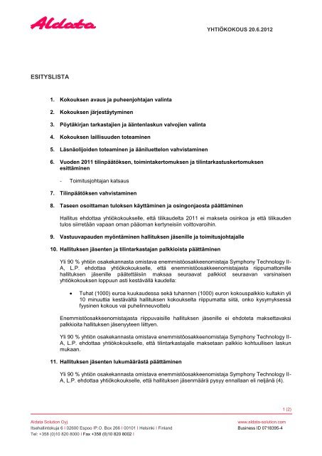 Pöytäkirjan allekirjoittaminen ja tarkastaminen
